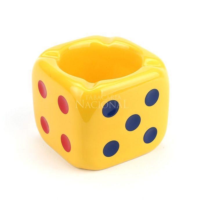 Cinzeiro para Cigarro de Porcelana - Dado Amarelo