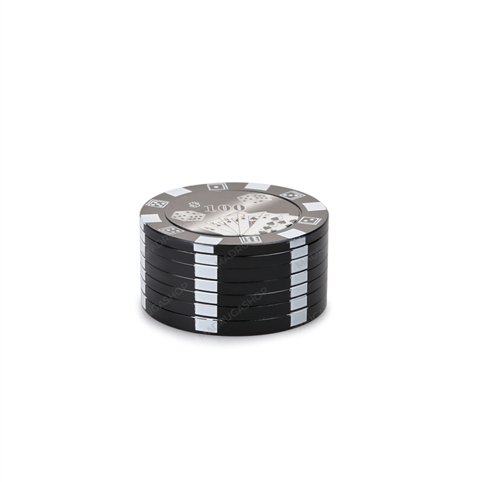 Dichavador de Metal Poker Chips - Preto