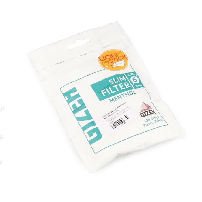 Filtro para Cigarro Gizeh Slim Mentol de 6mm (Pacote com 120)