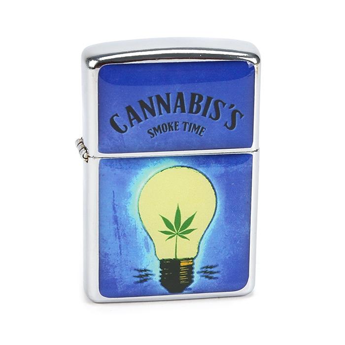 Isqueiro Star Cromado - Cannabis Lâmpada Azul (2 Face)