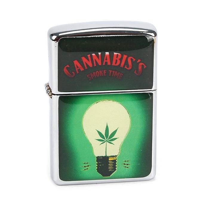 Isqueiro Star Cromado - Cannabis Lâmpada Verde (2 Face)