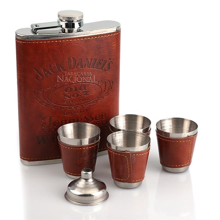 Kit Jack Daniel's 6 peças (Cantil 270ml - Funil - 4 copos) - Marrom