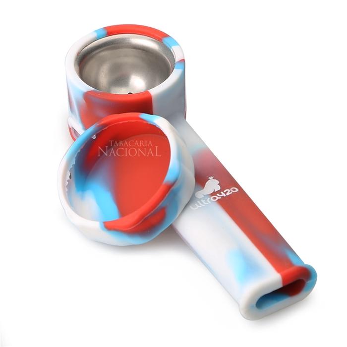 Pipe de Silicone Ultra420 - Branco Laranja e Azul