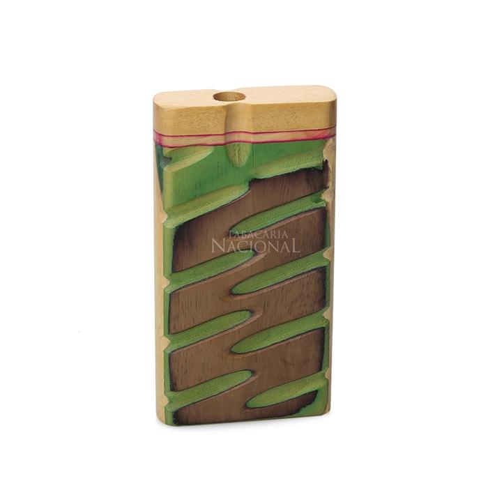 Pipe One Hitter de Metal com Caixa de Madeira (Dugout) - Verde