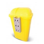 Lixeira Amarela com Suporte Plástico 50L e Logo Bralimpia