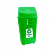 Lixeira Verde 50L Plasvale