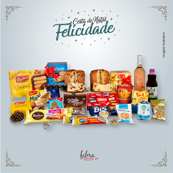 Cesta de Natal Felicidade Fibra Alimentos na Caixa Organizadora