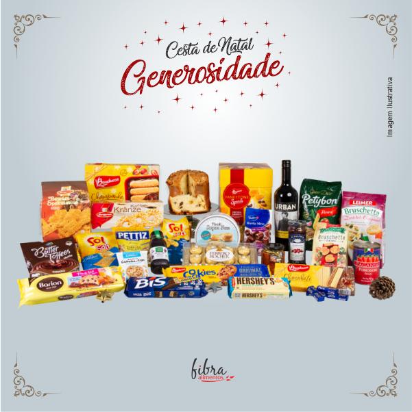 Cesta de Natal Generosidade Fibra Alimentos na Caixa de Vime