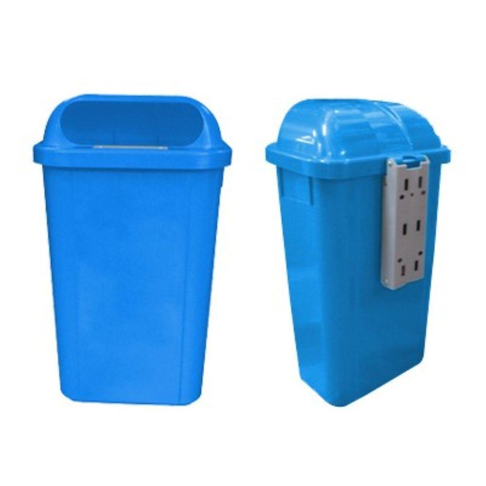Lixeira Azul com Suporte Plástico 50L e Logo Bralimpia