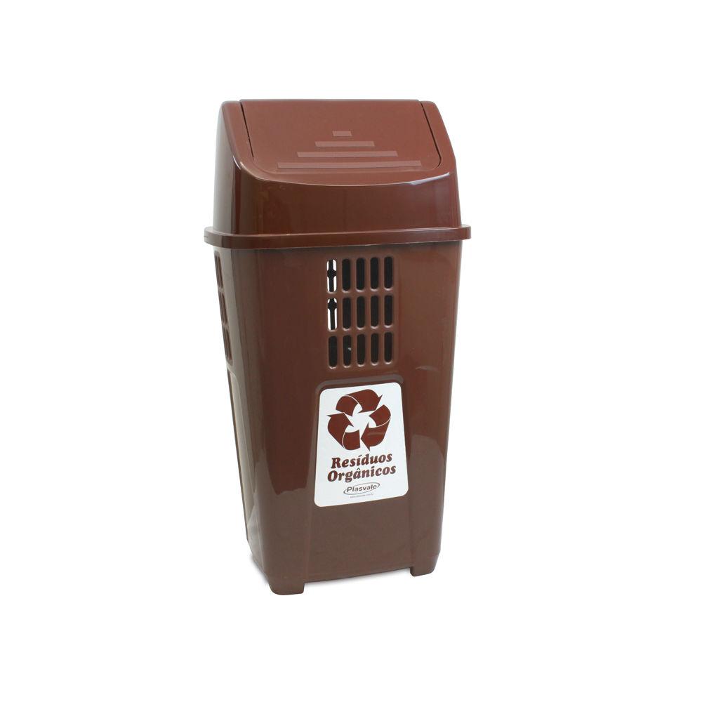 Lixeira Marrom 50L Plasvale Recicle