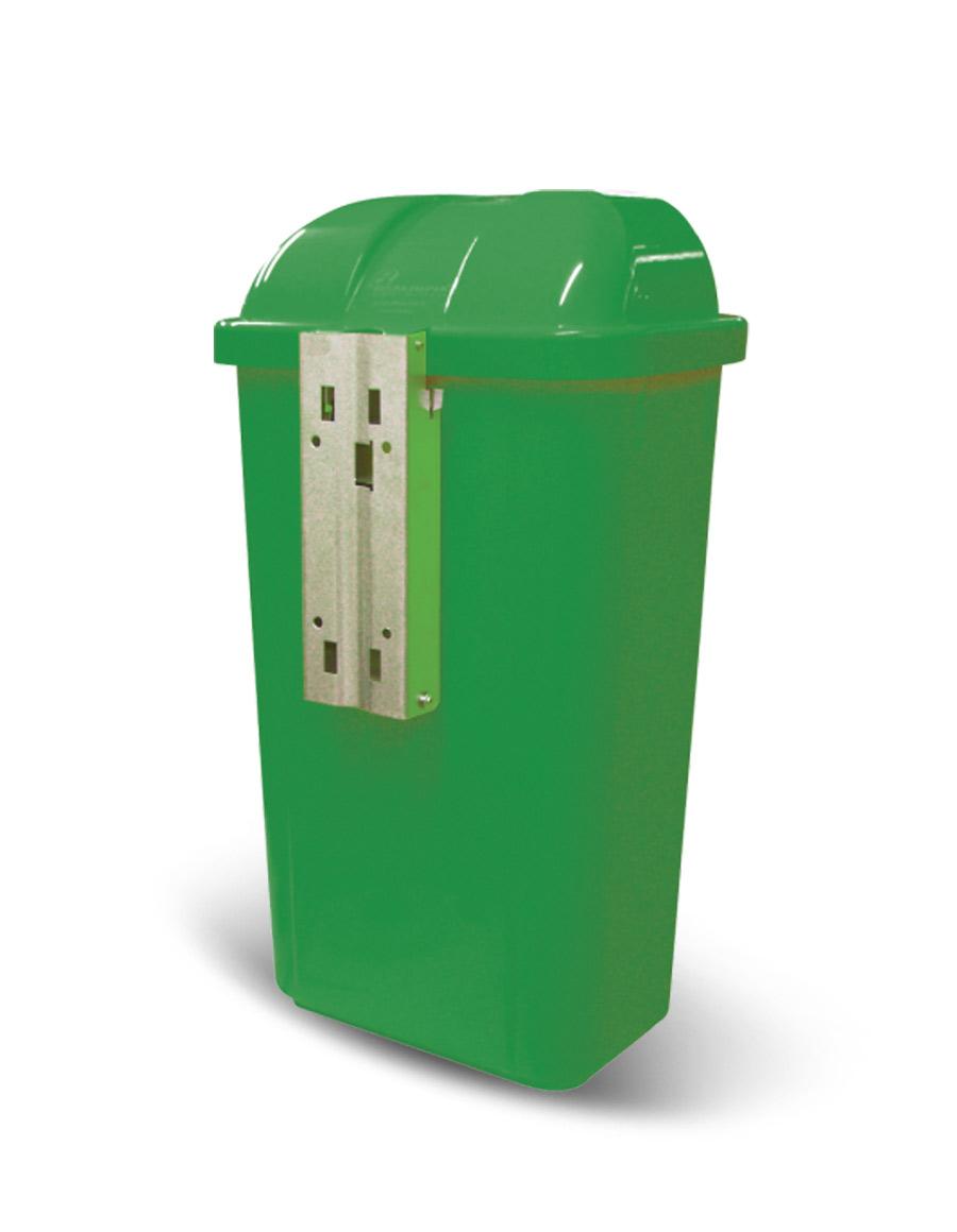 Lixeira Verde com Suporte Plástico 50L e Logo Bralimpia