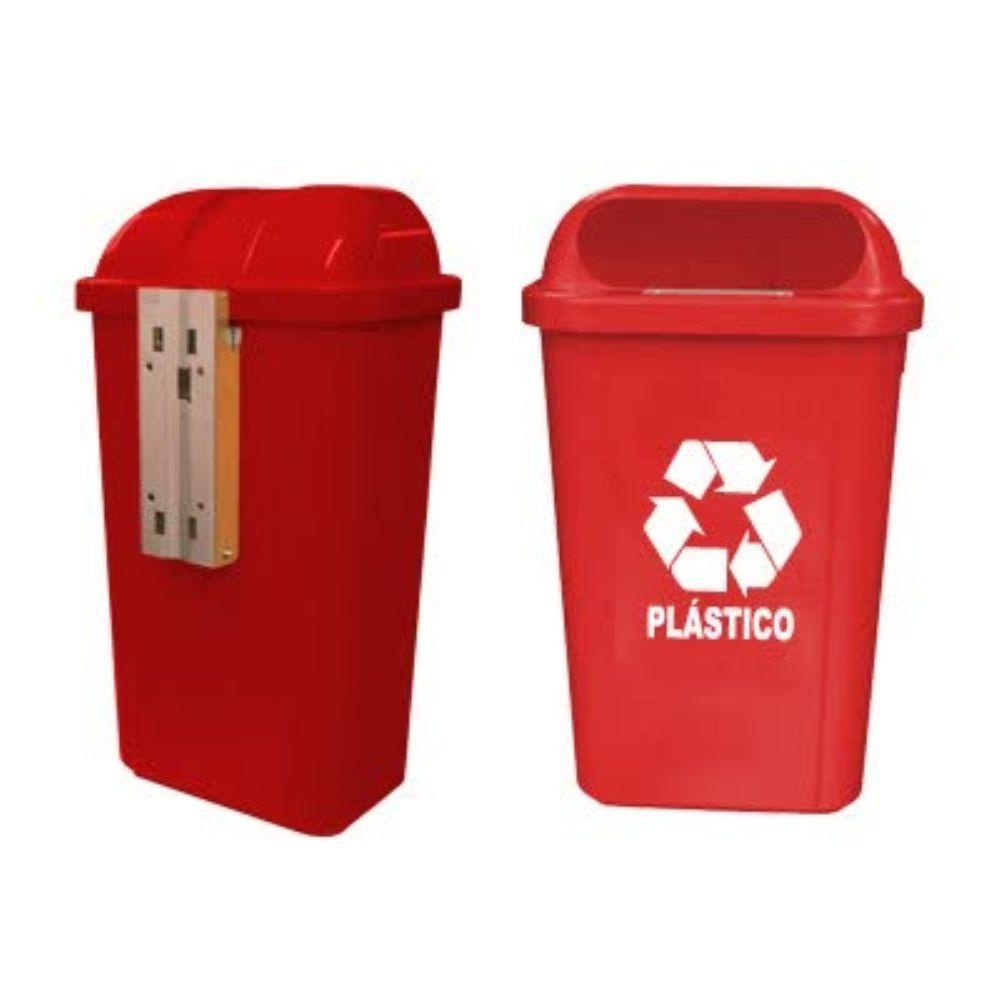 Lixeira Vermelha com Suporte Plástico 50L e Logo Bralimpia
