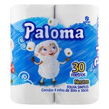 Papel Higiênico Neutro 10cmX60m Paloma 4 rolos