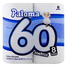 Papel Higiênico Neutro 10cmX60m Paloma 8 rolos