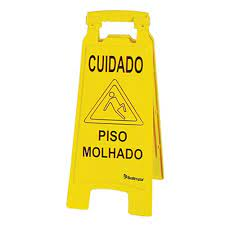 Placa de Sinalização - Cuidado Piso Molhado - Perfect