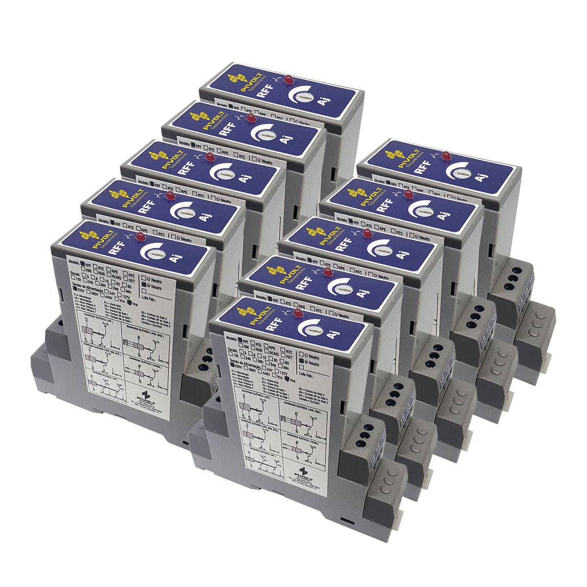 Kit 10 Relés Falta de Fase Trifásico SEM NEUTRO DIN 35mm