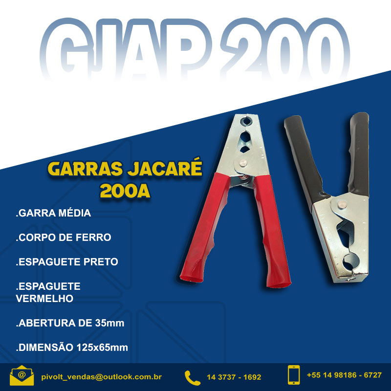Par Garras Jacaré 200A Media para Carregador Baterias (pt/vm)