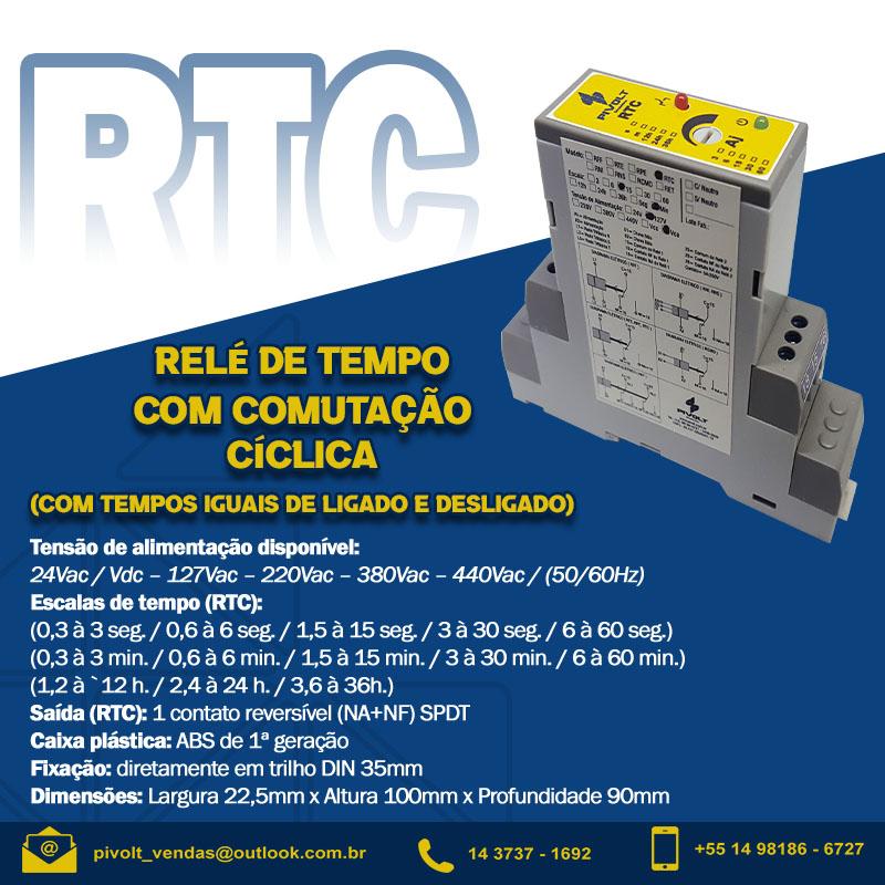 Relé de Tempo Cíclico com Tempos Iguais 440Vac DIN 35mm