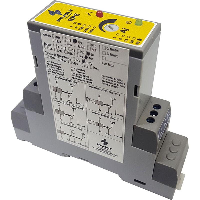 Relé de Tempo com Pulso na Energização 220Vac DIN 35mm