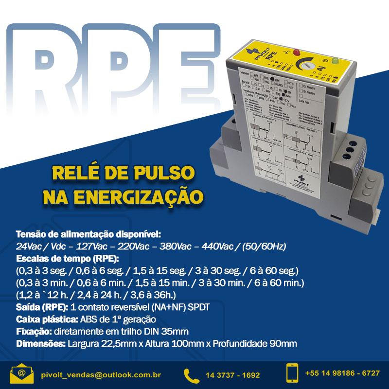 Relé de Tempo com Pulso na Energização 380Vac DIN 35mm
