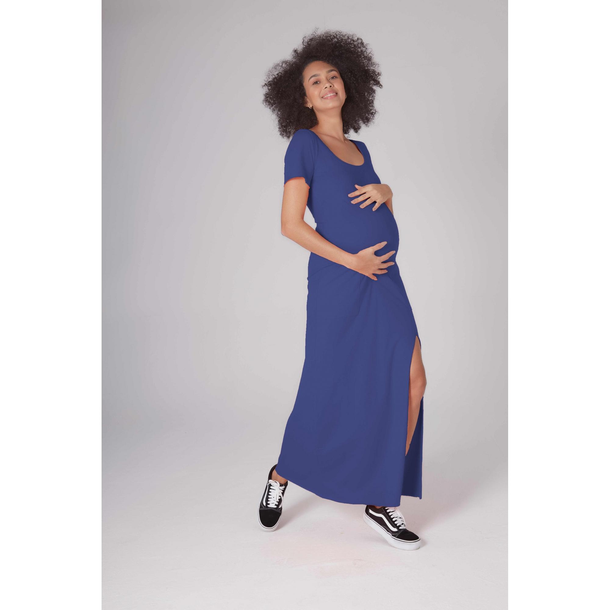 Vestido Gestante Tangerina Azul Royal