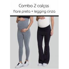 Legging Gestante Mamão Cinza + Calça Gestante Flare Papaya Preta
