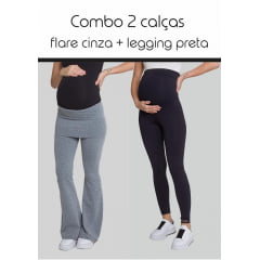 Legging Gestante Mamão Preta + Calça Gestante Flare Papaya Cinza