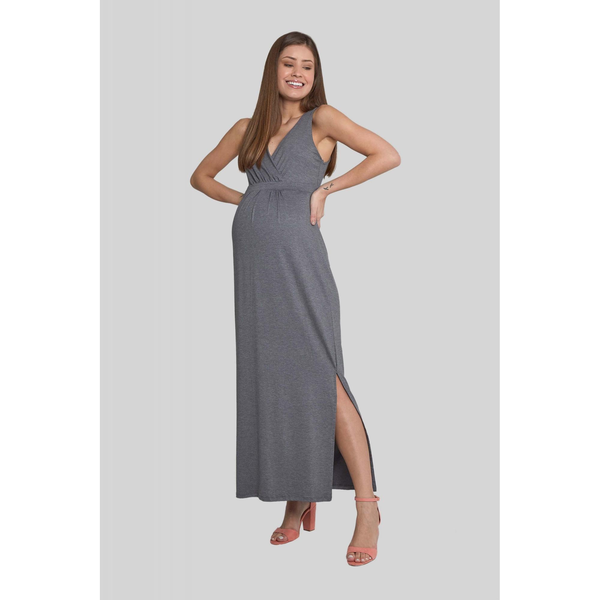 Vestido Gestante Longo Pêssego Mescla