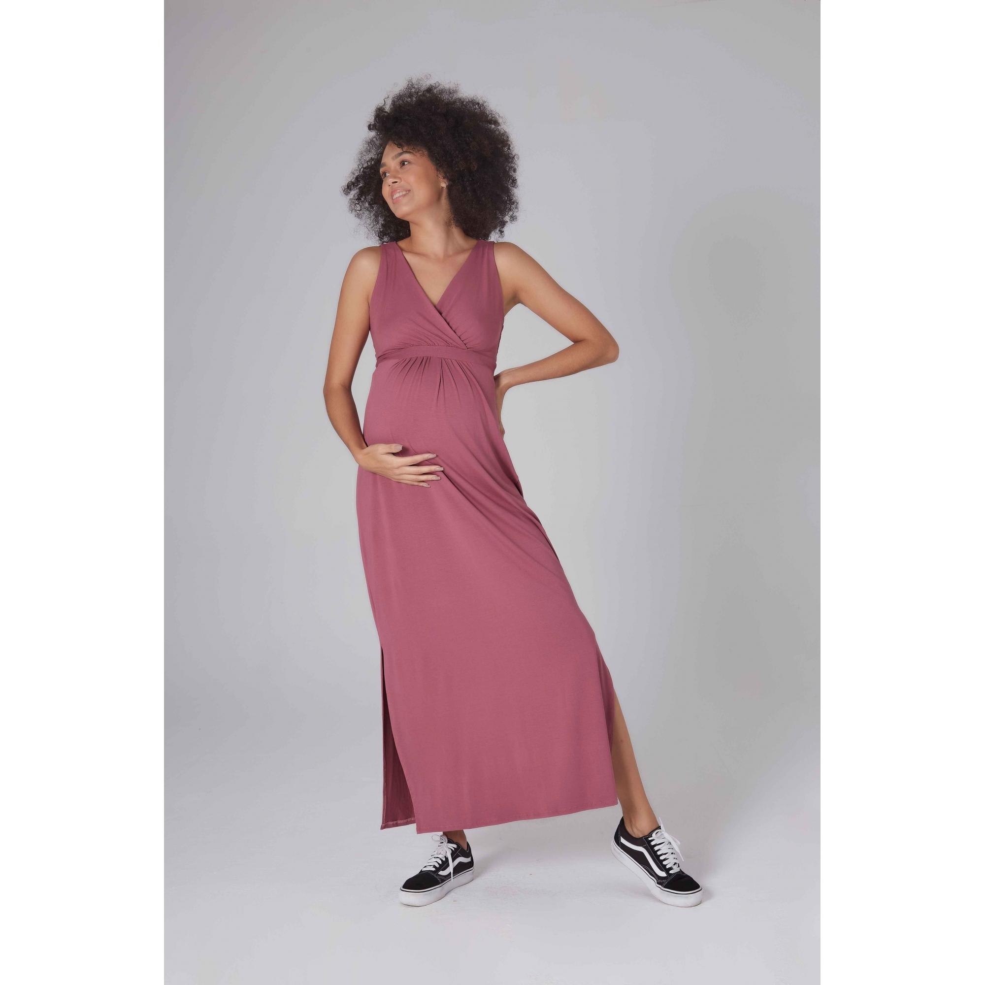 Vestido Gestante Longo Pêssego Rouge