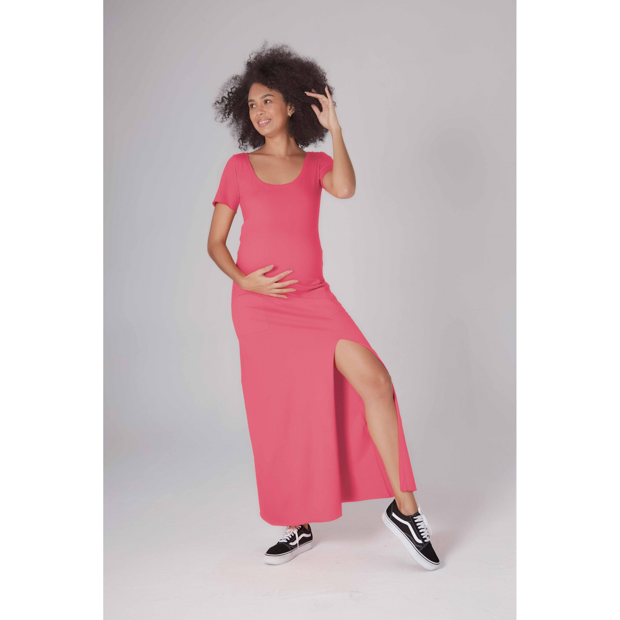 Vestido Gestante Tangerina Rosa chiclete