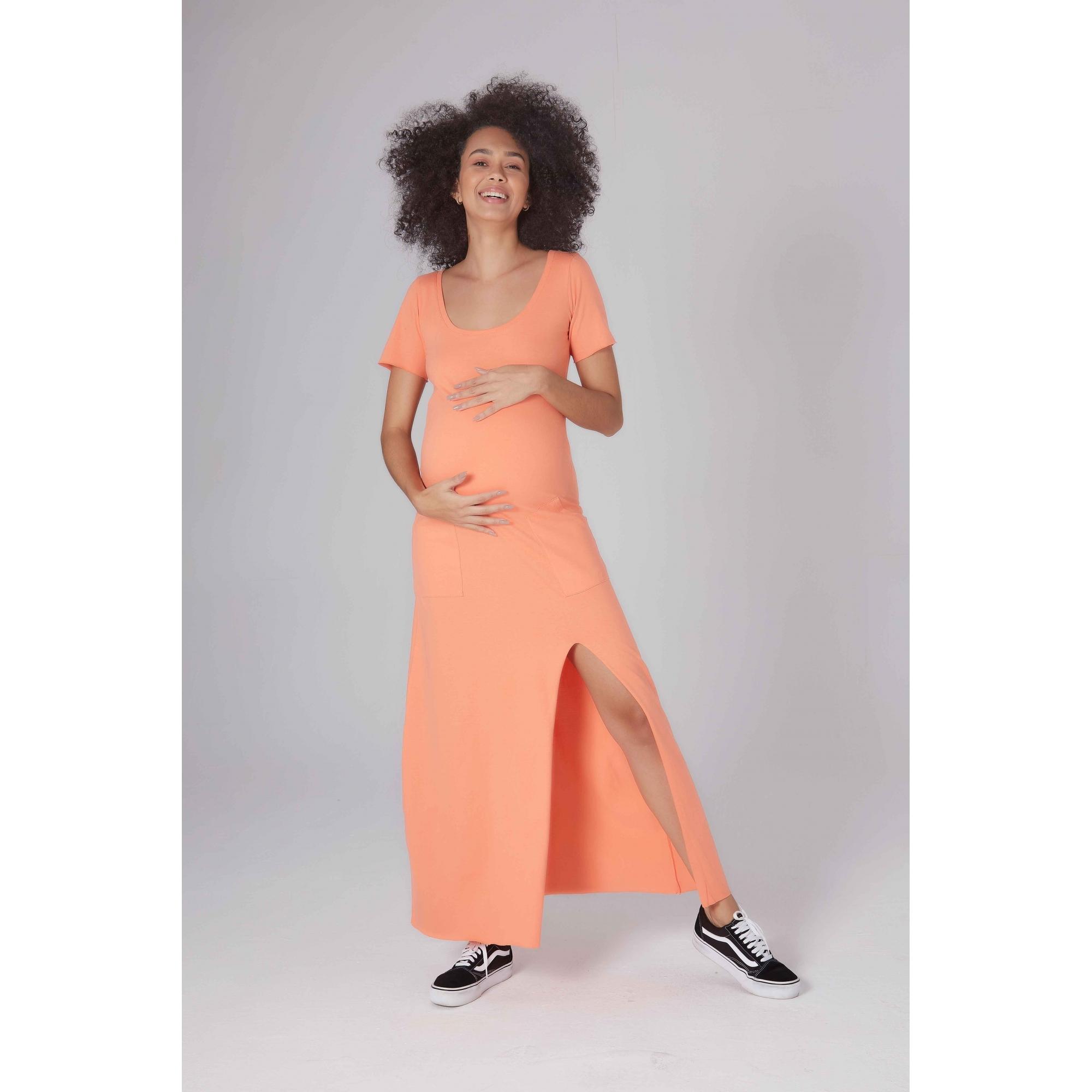 Vestido Gestante Tangerina Salmão