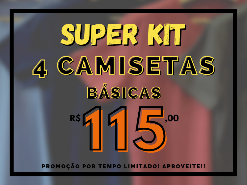 super kit 4 camisetas basicas por r$ 115,00