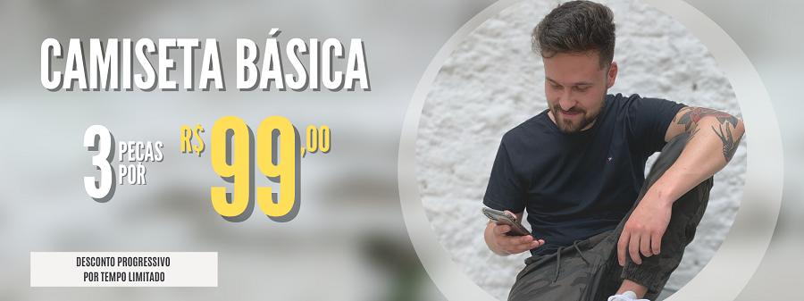 3 CAMISETAS BÁSICAS POR R$ 99,00