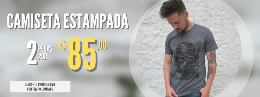 2 CAMISETAS ESTAMPADAS POR R$ 85,00