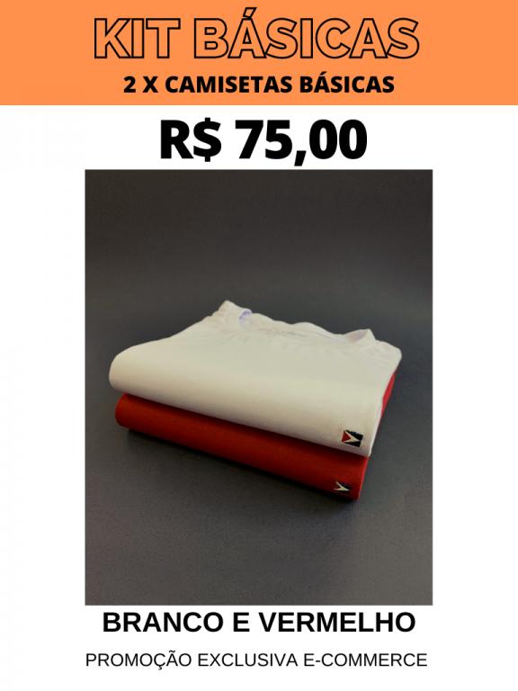 KIT CAMISETAS BÁSICAS- 2 POR R$ 75,00 (BRANCO/VERMELHO)