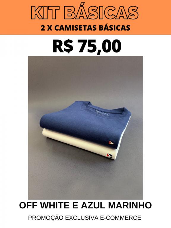 KIT CAMISETAS BÁSICAS- 2 POR R$ 75,00 (OFF WHITE/AZUL MARINHO)