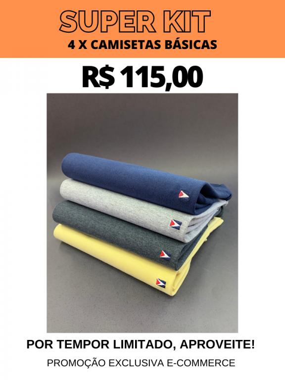 SUPER KIT CAMISETAS BÁSICAS- 4 POR R$ 115,00