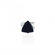 Anel Obsidiana Negra Triangular