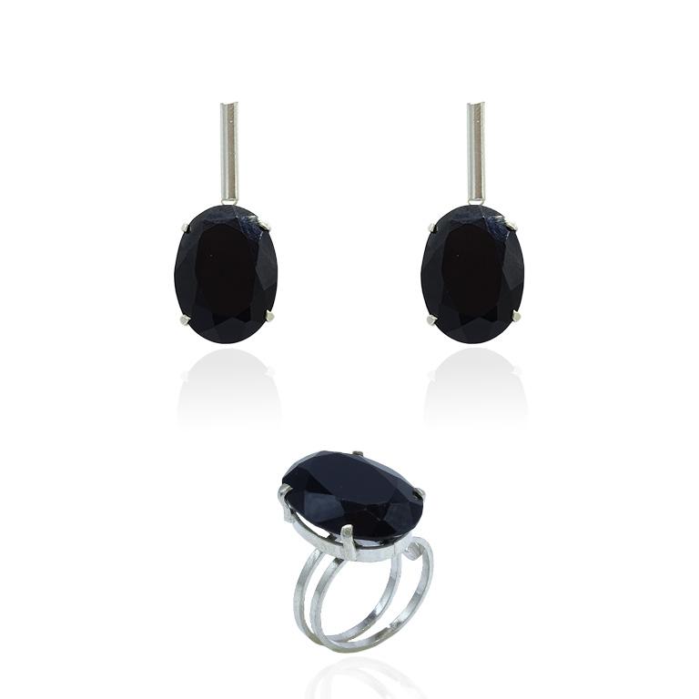 Conjunto de Obsidiana Negra Cabochão