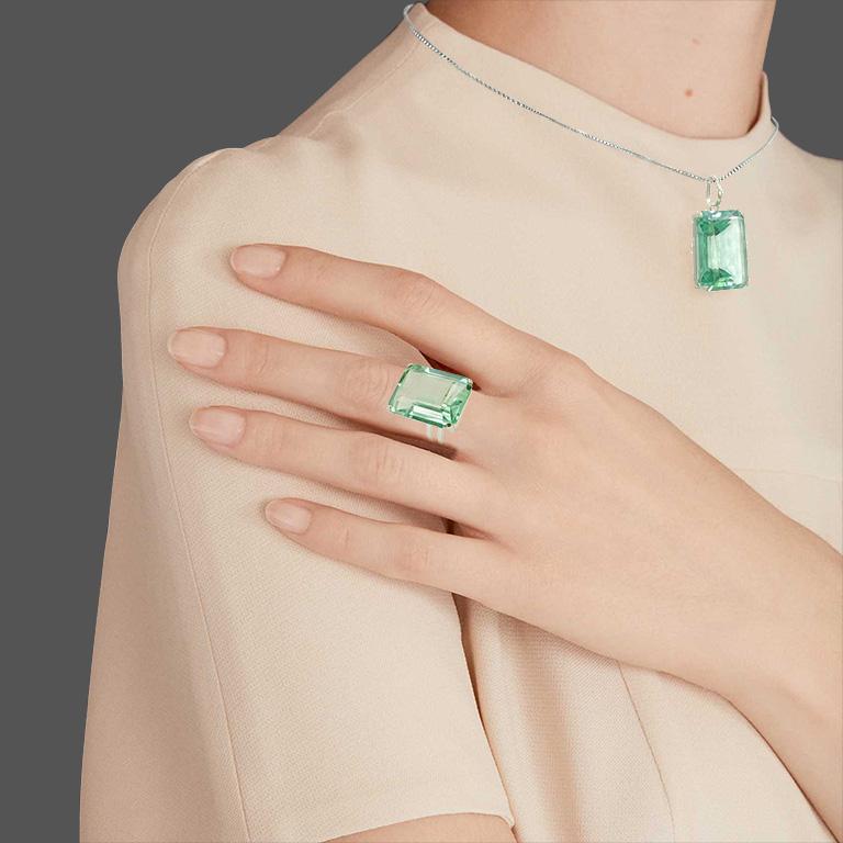 Conjunto de Obsidiana Verde Retangular