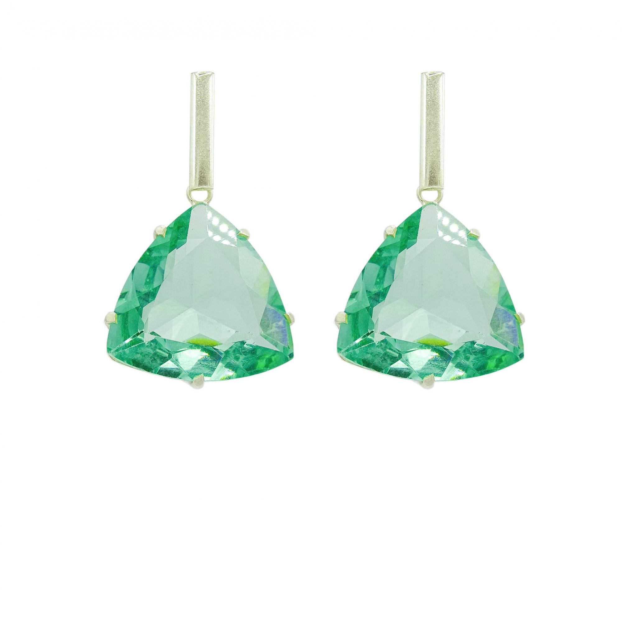 Conjunto de Obsidiana Verde Triangular