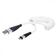 Cabo Micro USB Espiral Branco 1,20m X-Cell