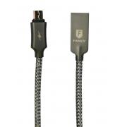 Cabo USB Micro 3.0 1,20m Preto Acompanha Estojo de Metal Preto Fancy