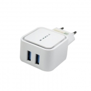 Carregador de Tomada 3.4A c/ 2 USB Branco Flex