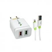 Carregador de Tomada Lightning 4A Com 2 USB 3.0