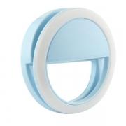 Clipe Anel Led Luz Selfie Para Celular Azul*
