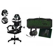 Kit Cadeira Gamer Branca + Teclado Mouse Completo Verde