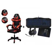 Kit Cadeira Gamer Vermelha + Teclado Mouse Completo Azul