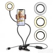 Luminaria Ring Light Led USB de Mesa c/ Suporte p/ Celular