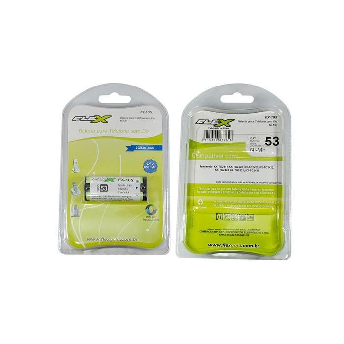 Bateria Recarregável p/Telefone Sem Fio 2,4V 830mAh FX-105
